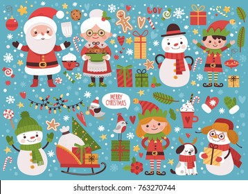 Big New Year set of characters and elements. Real Santa Claus and his Mrs. Klaus, elves, snowflakes, gifts, cookies and other items.