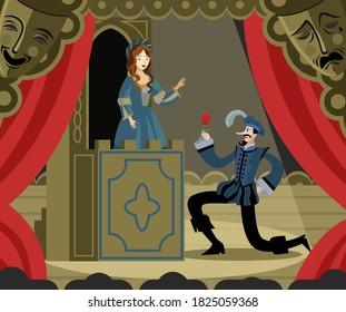 big nose cyrano victorian man on theater