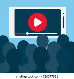 Big number of viewers in front of big smartphone screen. Stock vector illustration for online broadcast, mobile content, home cinema,tv live stream watching, digital entertainment and addiction.