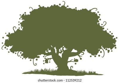 big oak tree silhouette