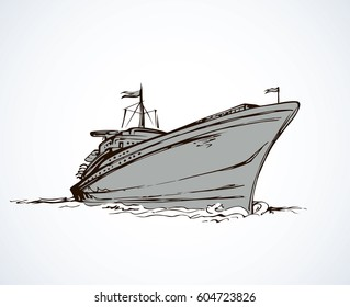 Big obsolete naval SS isolated on white backdrop. Freehand outline black ink hand drawn picture logo sketchy in art antique scribble style pen on paper. Side view with space for text on sky