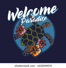 Big ocean sea wild turtle swimming blue water welcome to paradise abstract vintage fashion trendy summer print design for t-shirt poster sticker badge patch Hawaii island surfing style illustration.