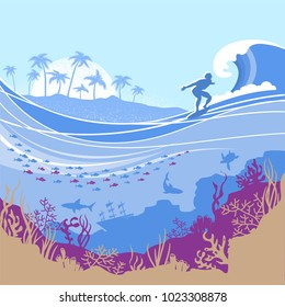 Big ocean wave and tropical island on Vector blue background with surfer.Seascape illustration