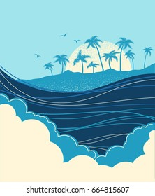 Big ocean waves and tropical island with palms.Vector blue background