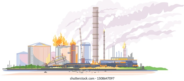 Big oil refinery on fire in flat style isolated, oil production plant, petrochemical plant, ecology disaster concept illustration, manufacturing with metallic constructions