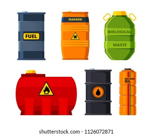 Big oil tanks. Set of barrels for oil or toxic fuel. Tank and barrel, storage container reserve. Vector illustration