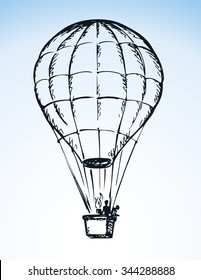 Big old airy Hot Air Balloon with people in gondola soar up on sail in cloud isolated on white background. Outline ink hand drawn icon sketch in scribble style pen on paper with space for text on blue sky