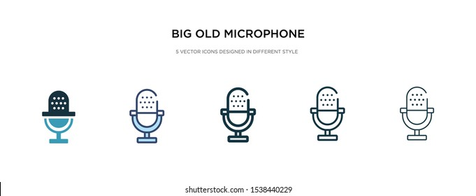 big old microphone icon in different style vector illustration. two colored and black big old microphone vector icons designed in filled, outline, line and stroke style can be used for web, mobile,