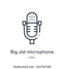 big old microphone icon from technology outline collection. Thin line big old microphone icon isolated on white background.