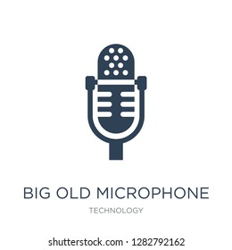 big old microphone icon vector on white background, big old microphone trendy filled icons from Technology collection, big old microphone vector illustration