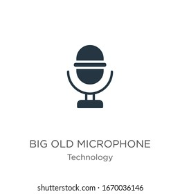 Big old microphone icon vector. Trendy flat big old microphone icon from technology collection isolated on white background. Vector illustration can be used for web and mobile graphic design, logo,