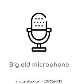big old microphone vector line icon. Simple element illustration. big old microphone outline icon from technology concept. Can be used for web and mobile