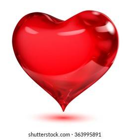 Big opaque glossy red heart with shadow on white background
