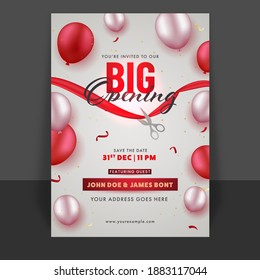 Big Opening Flyer Or Template Design With Glossy Balloons And Event Details.