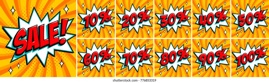 Big orange color sale set. Sale inscription and all percent % numbers. orange and red colors. Pop-art comics style web banners, flash animation, stickers, tags. Vector illustration