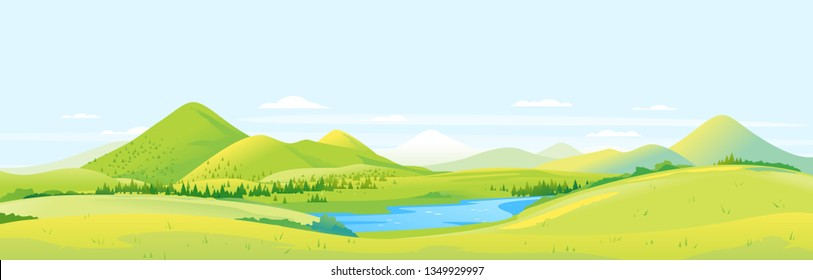 Big panorama of fields and meadows with spruce forest around mountain valley, summer countryside with green hills and river, summer sunny glades illustration