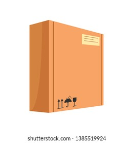 Big paper package cartoon illustration. Carton box with keep dry, fragile and side up symbols. Cardboard box concept. Vector illustration can be used for topics like delivery, shipping, parcel