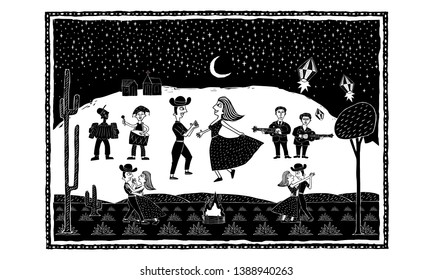 Big party junina black vector