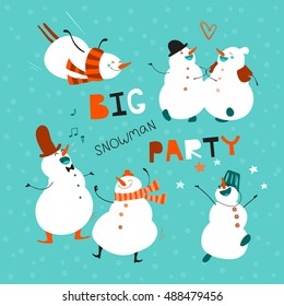 Big party. Set of funny dancing snowmen. Card, advertising, invitation, poster, or flyer for holiday. Festive winter design. Creative hand drawn card with cute cartoon characters. Vector illustration.