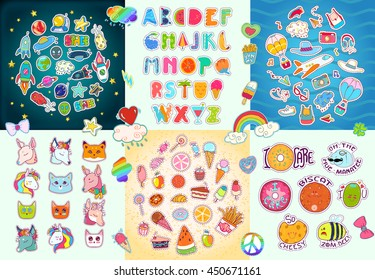 Big patches set, colorful collection with hearts, stars, rainbow, clouds, tasty food, traveling and space stickers, summer Alphabet, decorative elements... Hand drawn vector Illustration, retro style.