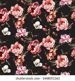 Big pattern with baroque flowers-peony, bright colours, interesting composition, on black background