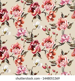Big pattern with baroque flowers-peony, bright colours, interesting composition, on beige background