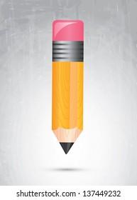Big pencil over old background vector illustration