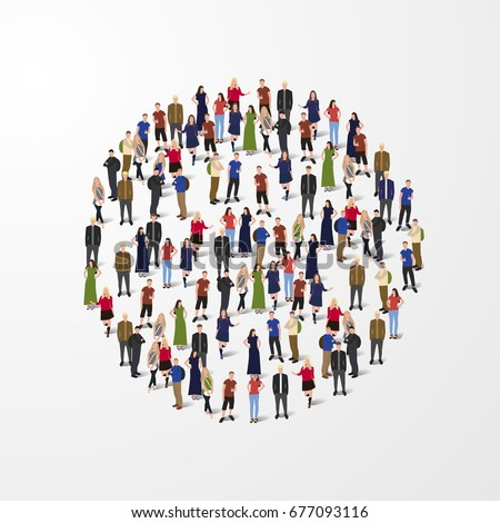 big people crowd circle society concept stock vector royalty free