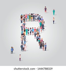 big people crowd gathering in shape letter R different occupation employees group standing together English alphabet concept full length