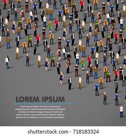 Big people crowd on dark background. Vector illustration.