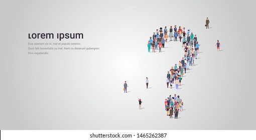 big people crowd standing together in shape of question mark sign different occupation employees group pondering problem concept full length horizontal copy space