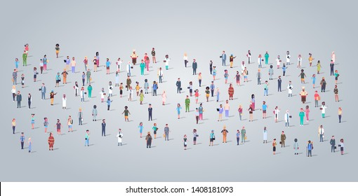 big people group different occupation employees standing todether workers crowd labor day concept horizontal full length flat