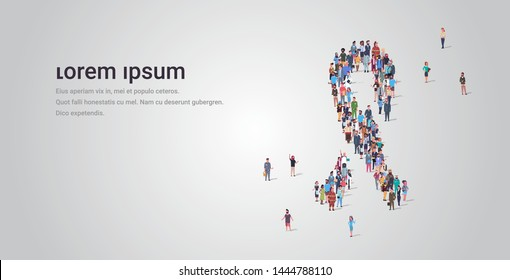 big people group standing together in ribbon shape crowd of different occupation employees breast cancer awareness concept full length horizontal copy space