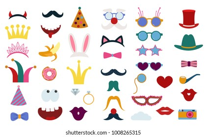 Big photo booth props set for birthday or fun party vector illustration. Printable icons for mustache, hats, crown and other elements for making photo booth collage