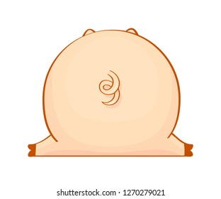 Big pig from back. Cute pig's butt with a tail isolated on white. Hand drawn vector design.