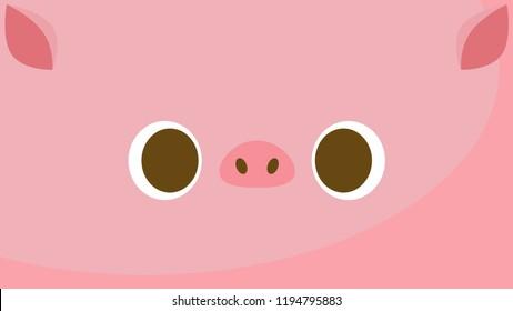 Big pig face wallpaper. Vector illustration.