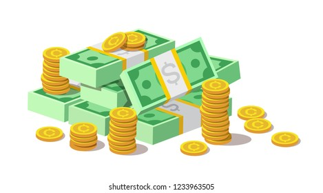 Big pile of cash money banknotes, american dollars and gold coins, cents. Currency, depository, bank, wealth, accumulation money isolated on white background. Vector illustration in flat style.