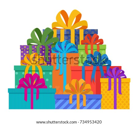 Big Pile Christmas Gifts Holiday Packages Stock Vector (Royalty Free ...