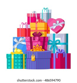 Big pile colorful wrapped gift boxes 482365975 big pile of colorful wrapped gift boxes mountain gifts beautiful present box with overwhelming negle Gallery