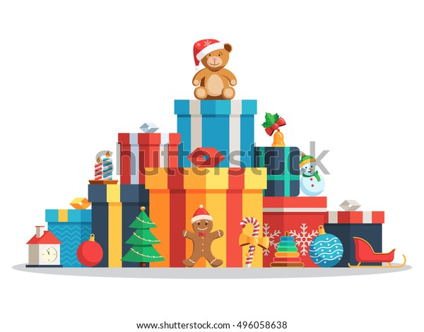 Big pile of colorful wrapped gift boxes and toys, Christmas balls, candy, candles, Gingerbread man, tree, bear in Santa hat. Flat style vector concept holiday illustration Isolated on white background