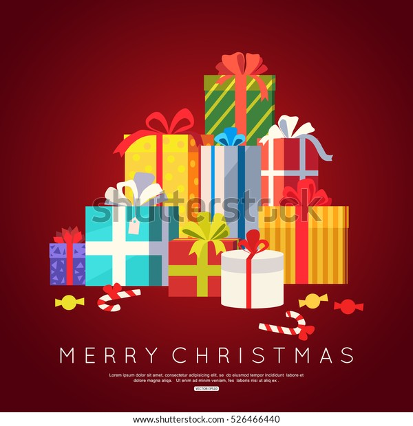 Big pile of colorful wrapped gift boxes for Christmas greeting card. Vector illustration