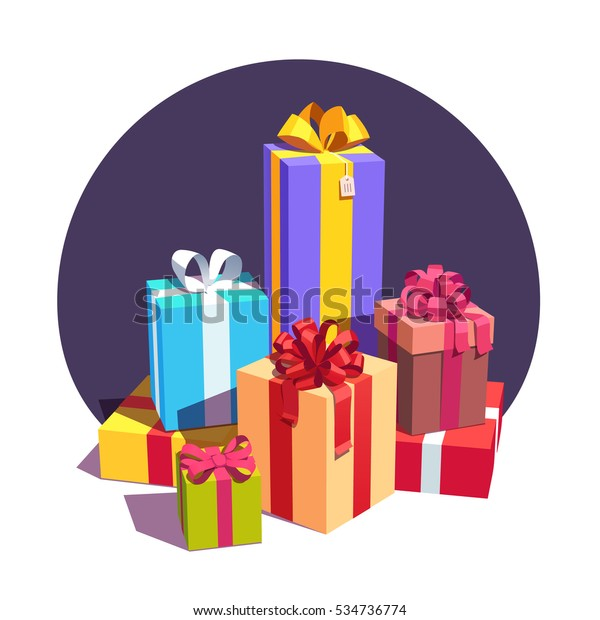 Big pile of colorful wrapped gift boxes decorated with ribbon and bows. Lots of holiday presents. Flat style vector illustration isolated on white background.