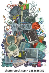 A big pile of electronic trash. Old and obsolete component and hardware pollute environment. Handmade sketch. Caricature.
