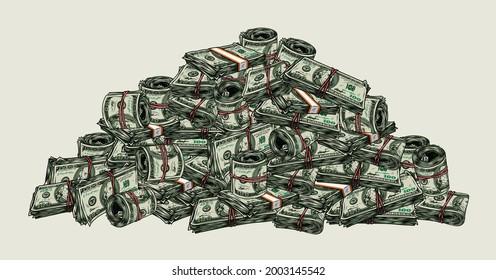 Großer Haufen Geld buntes Konzept mit Stacks und Rollen von Dollar-Scheinen im Vintage-Stil, einzelne Vektorgrafik
