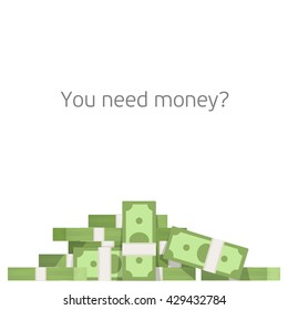 Big pile of money vector illustration, heap of cash, American dollars, pack, parcel, batch, flock, package modern design isolated on white background in flat style.