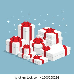 Big pile of white wrapped gift boxes with red ribbons flat design. Big on sale concept. Vector isometric icon interface elements app icon ui ux web banner isolated on blue blinking background