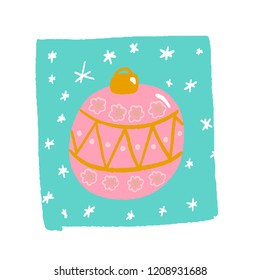 big pink Christmas ball with pattern on blue background and snowflakes