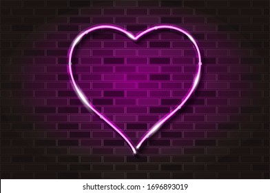 Big pink heart glowing neon sign or LED strip light. Realistic vector illustration. Black brick wall, soft shadow, metal holders.
