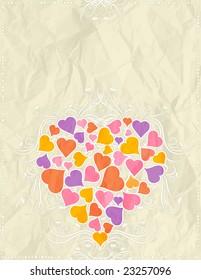 big pink heart over beige background, vector illustration