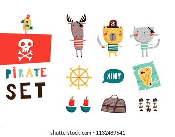 Big pirate set: cute templates for birthday, anniversary, party invitations, summer holidays. Hand drawn vector illustration in red, yellow and blue colors